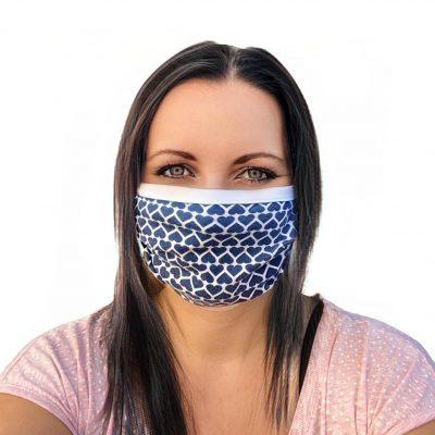 Mundbedeckung mit Nasenbügel blaue Herzen