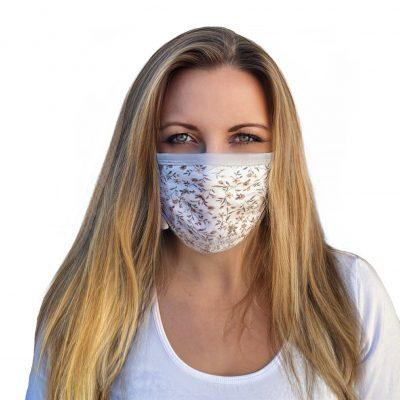 Mundbedeckung mit Nasenbügel Blumen grau