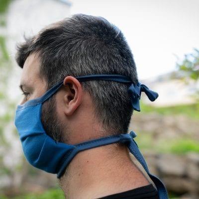 Mundbedeckung mit Nasenbügel blau/dunkelblau